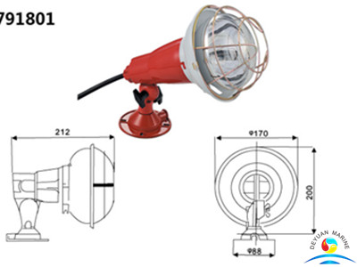 150W Boat Small Type Flanged-base Spot Lights For Marine Use