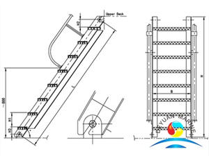Marine Engine Room Inclined Ladder For Steel Vessels With CCS