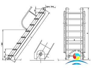 High Quality Marine Steel Engine Room Inclined Ladder For Ship