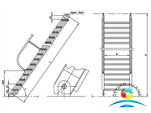Marine Steel Engine Room Inclined Ladder With Different Class Certificate