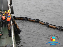 Ship Salvages Inflatable Rubber Oil Boom